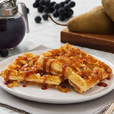 Bosc Pear Waffles with Coronation Grape Syrup