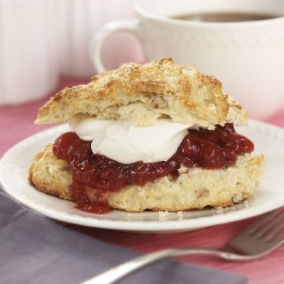 Pecan Scones with Ontario Plum Compote