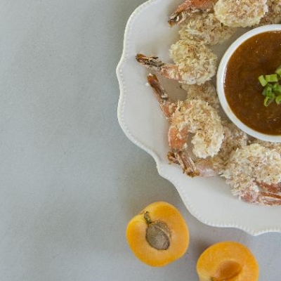 Coconut Shrimp with Ontario Apricot Dipping Sauce