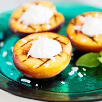 Grilled Nectarines with Coconut Whipped Cream