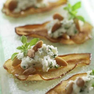 Ontario Pear Crisps with Chèvre and Pine Nuts