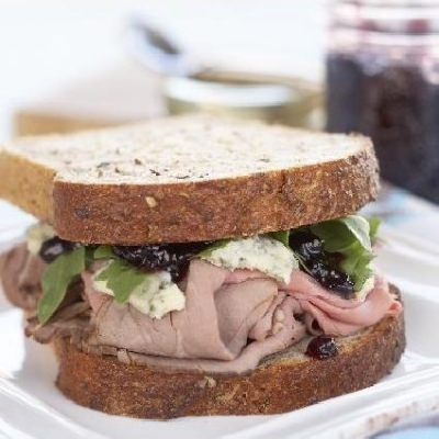 Roast Beef Blue Cheese and Ontario Coronation Grape Jam Sandwich